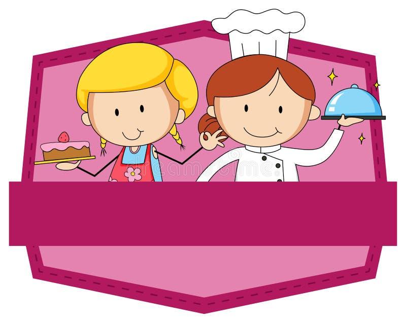 Różowa odznaka piekarz i szef kuchni ilustracja wektor