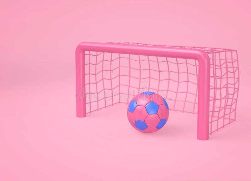 Różowa piłki nożnej piłka, cel i Minimalny sporta pojęcie ilustracja wektor