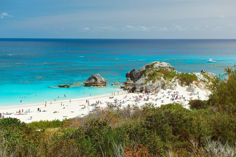 Różowa piasek plaża obrazy royalty free
