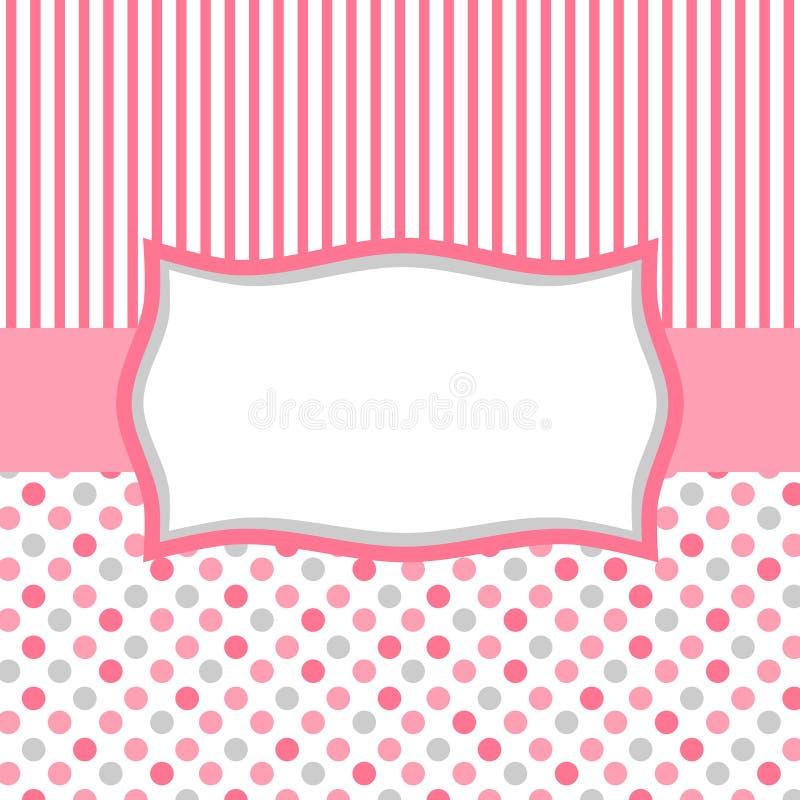 Różowa polka lampasów i kropek zaproszenia karta royalty ilustracja