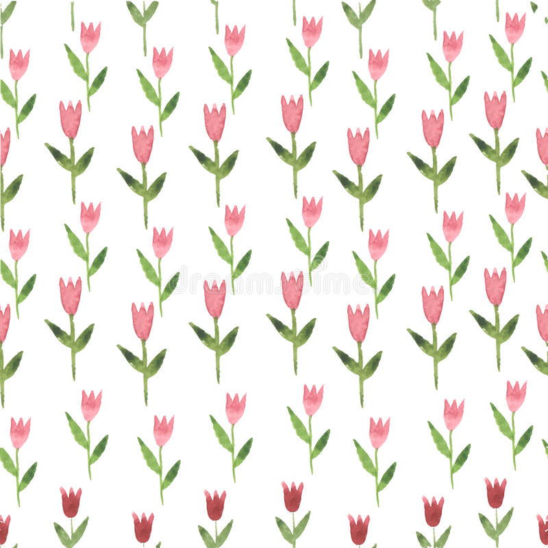 Różowa ręka rysujący akwarela kwiatu tulipan bezszwowy royalty ilustracja