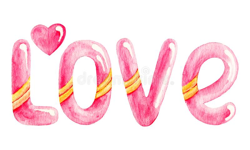 Różowa ręka rysuję akwareli miłości pisać list Walentynka dnia powitanie ilustracji