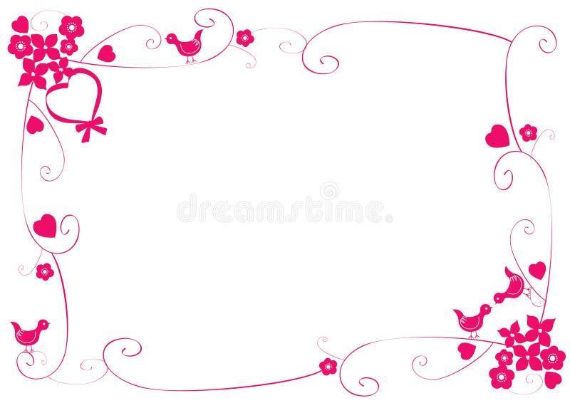 Różowa rama z valentine symbolami ilustracji