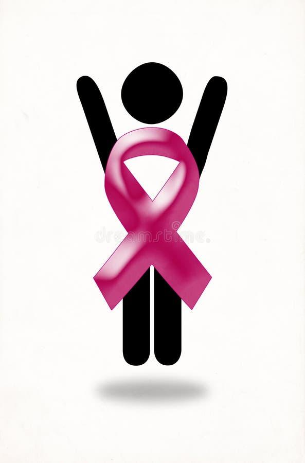 Różowa ribbbon kobieta uzdrawiał nowotworu piersi doskakiwanie z radością ilustracji