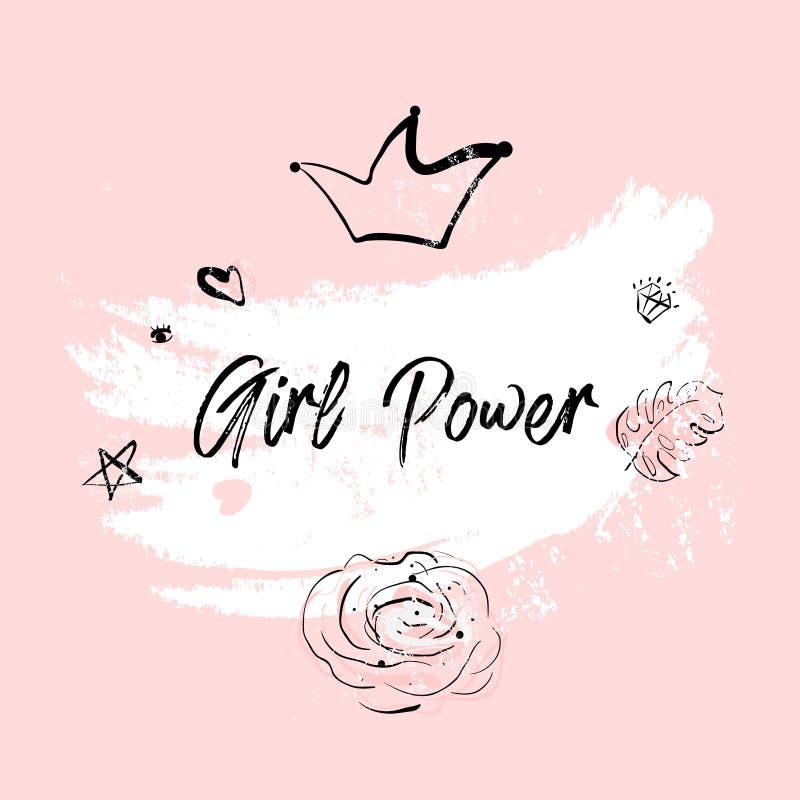 Różowa rumieniec dziewczyny władza ilustracja wektor