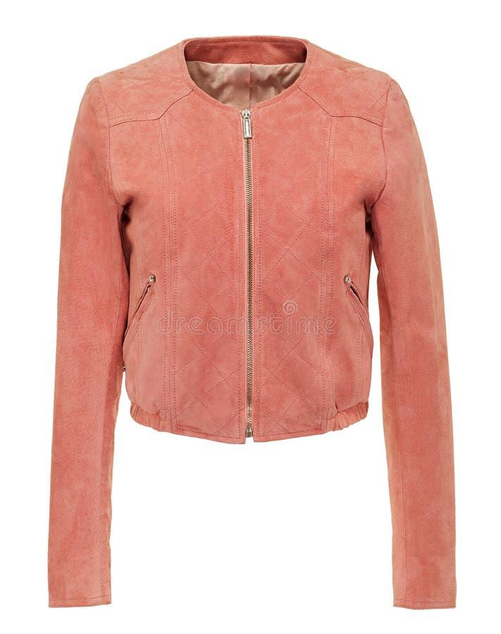 Różowa rzemienna damy kurtka z suwaczkiem zdjęcia stock