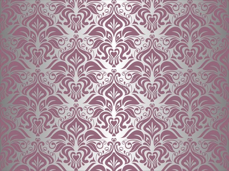 Różowa & srebna rocznik tapeta obrazy stock