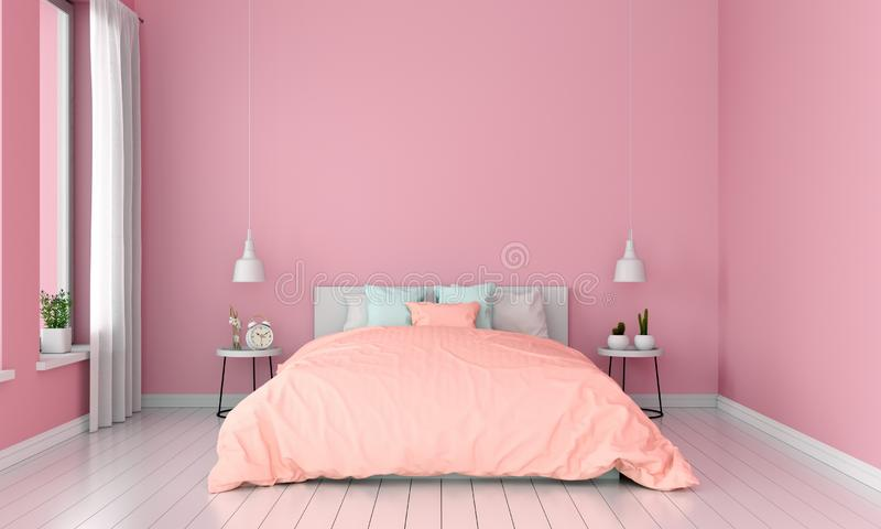 Różowa sypialnia dla mockup, lato koloru pojęcie, 3D rendering royalty ilustracja
