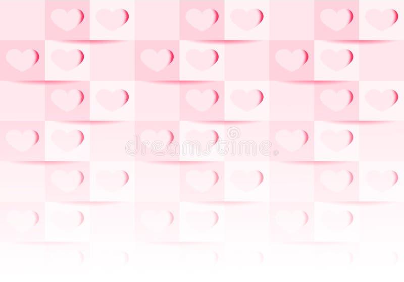 Różowa valentine abstrakta tekstura Wektorowy miłości tła 3d papieru sztuki styl może używać w okładkowym projekcie royalty ilustracja