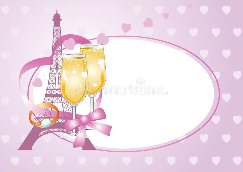 Różowa valentine karta z pierścionkiem royalty ilustracja