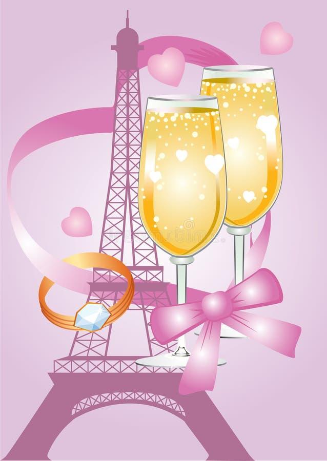 Różowa valentine karta z wieżą eifla ilustracja wektor