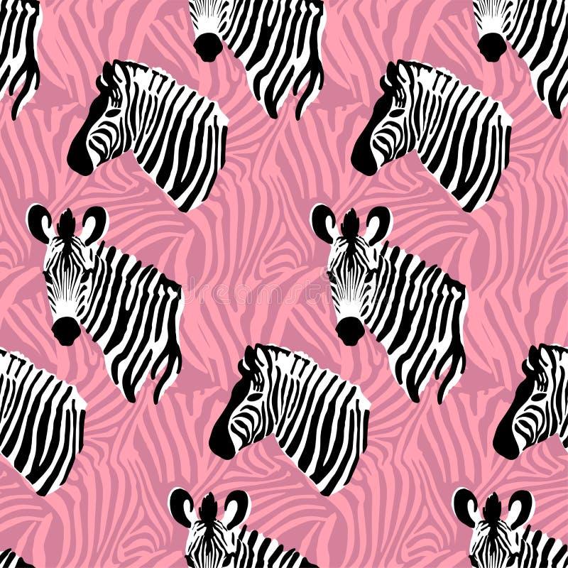 Różowa wektorowa bezszwowa deseniowa tekstura z zebra lampasami ilustracji