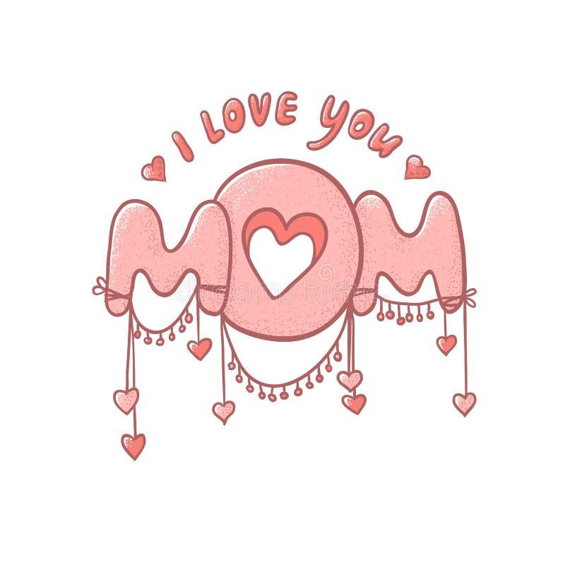 Różowa wektorowa ilustracja z sercami odizolowywającymi na białym tle Śliczny mamusie inskrypcja deklaracja miłość Postcar ilustracja wektor