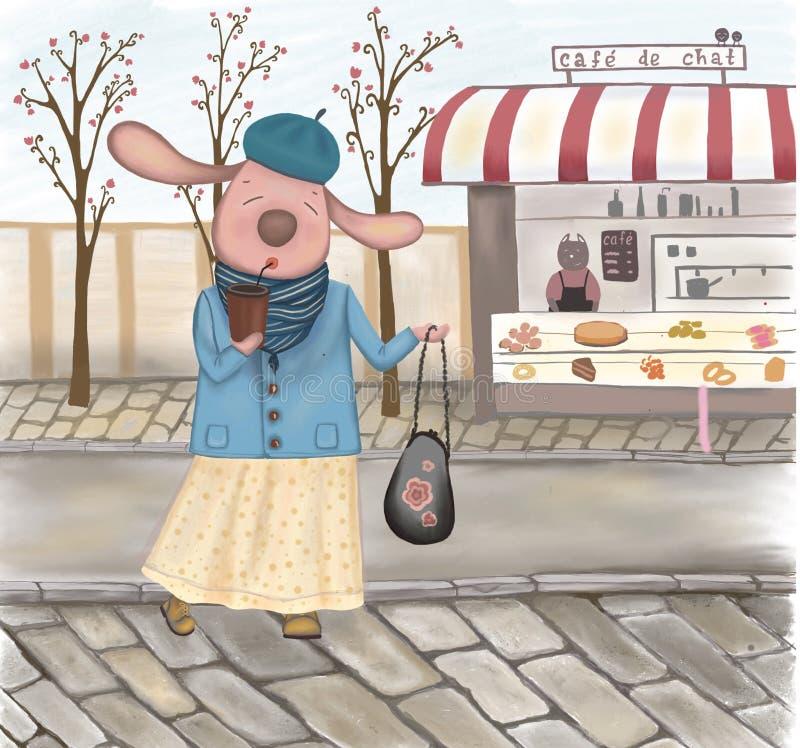 Różowa zając pije kawę w Paris w wiośnie royalty ilustracja