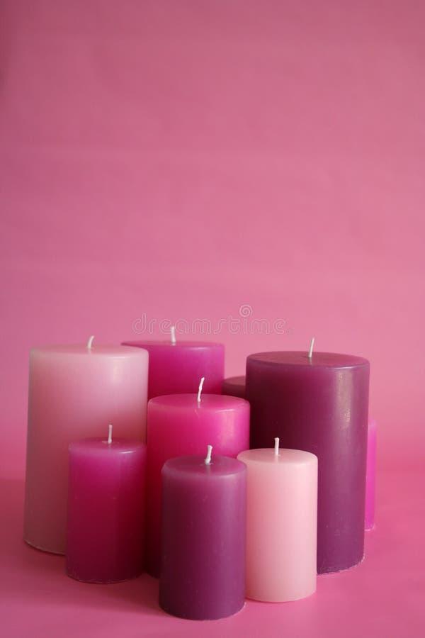 różowe świece. fotografia stock