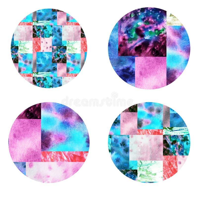 Różowe błękitne patchwork ikony royalty ilustracja
