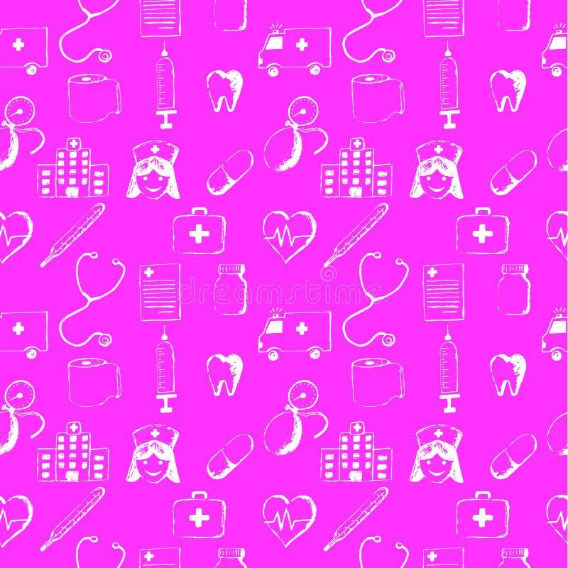 Różowe bezszwowe medyczne rzeczy zdjęcia royalty free
