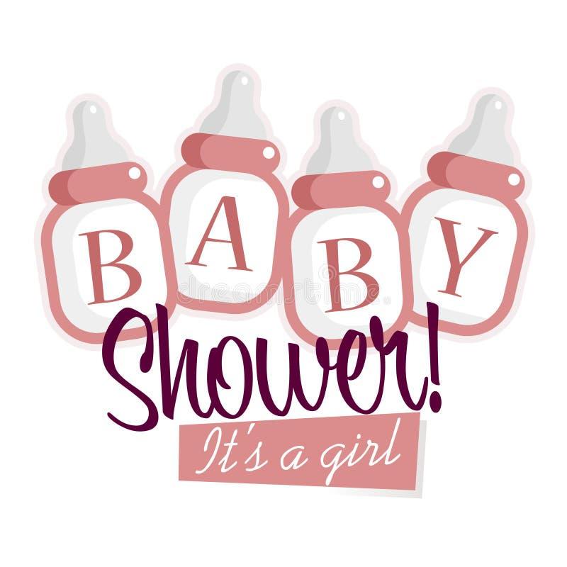 Różowe dziecko prysznic butelki ilustracja wektor
