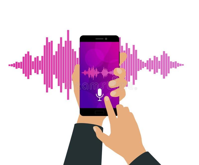Różowe fiołkowe Rozsądne fala na ekranie smartphone ilustracja wektor