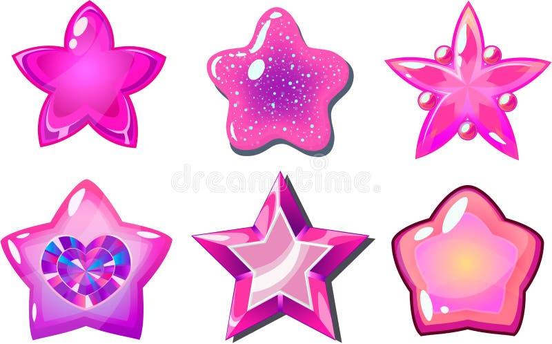 różowe gwiazdy royalty ilustracja