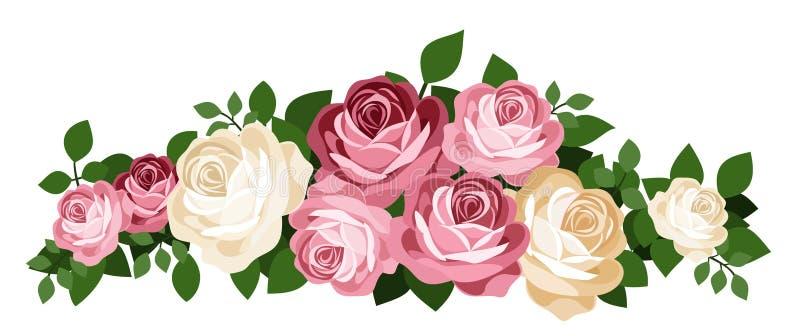 Różowe i biały róże. Wektorowa ilustracja.