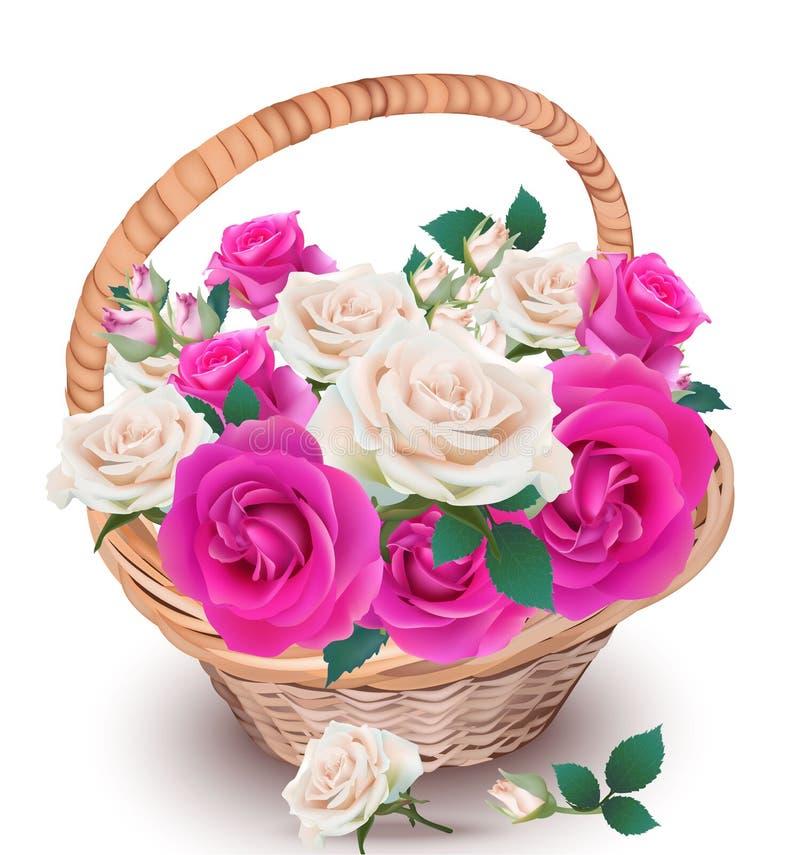 Różowe i kremowe róże w koszykowym wektorze Piękny realistyczny kwiatu wystrój Wiosny lata świeży naturalny skład royalty ilustracja