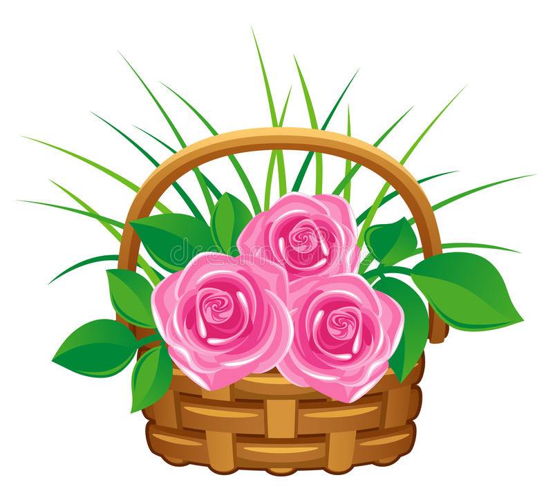 różowe kosz róże ilustracja wektor