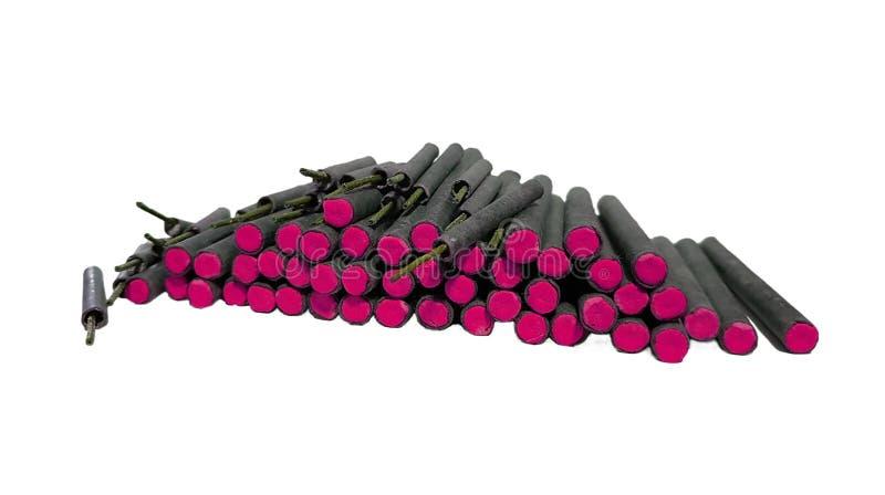 Różowe petardy odizolowywać na bielu obrazy stock