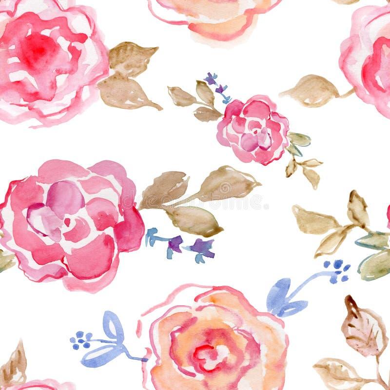różowe róże akwarela ręcznie malowany, rocznik ilustracja royalty ilustracja