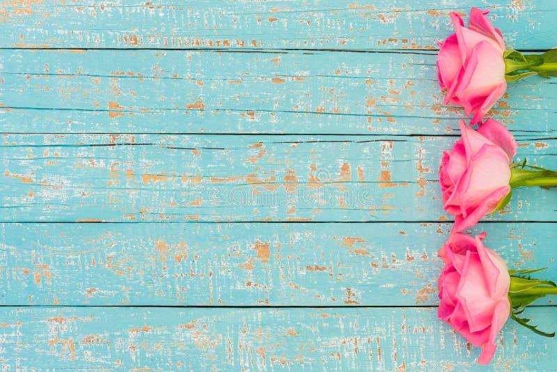Różowe róże dla Macierzystego ` s dnia, Poślubiać lub walentynki ` s, dnia kwiatów karta zdjęcie stock
