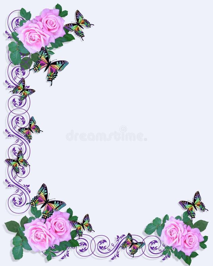 różowe róże motyla zaproszenia poślubić royalty ilustracja