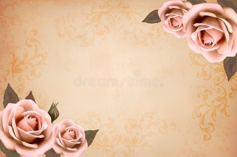 Różowe róże na rocznika starym papierowym tle ilustracji