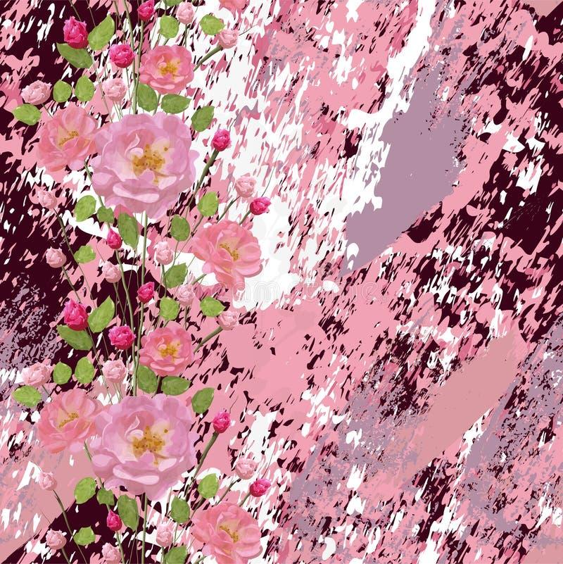 Różowe róże z liśćmi na textured marmurowym tle i ilustracji
