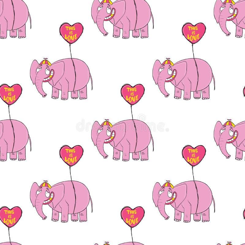 różowe słonie Oryginalna ręka rysujący postać z kreskówki zdjęcia royalty free