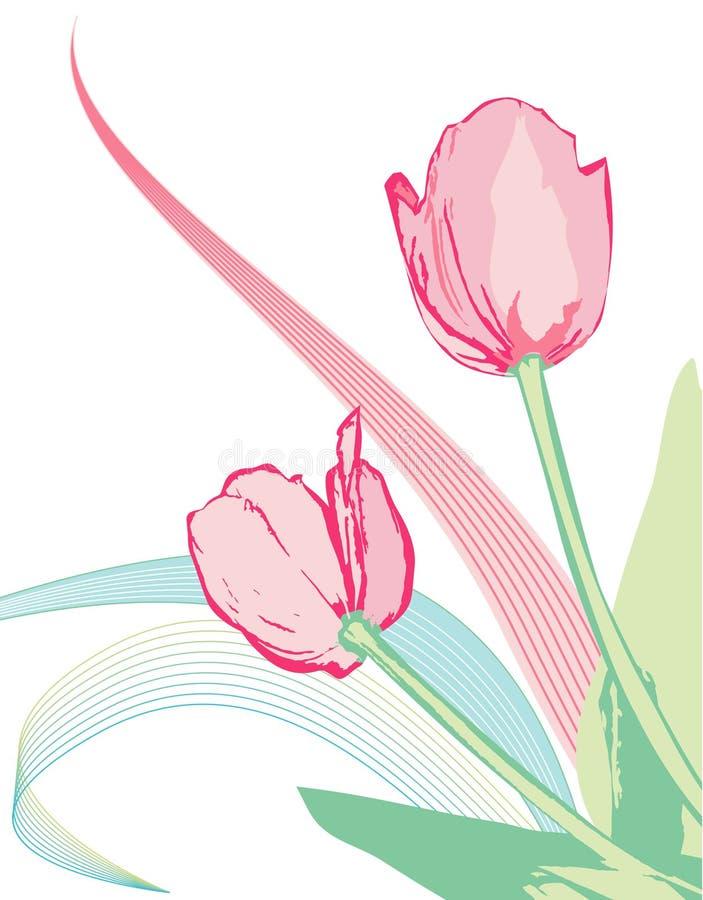 różowe tulipany położenie ilustracja wektor