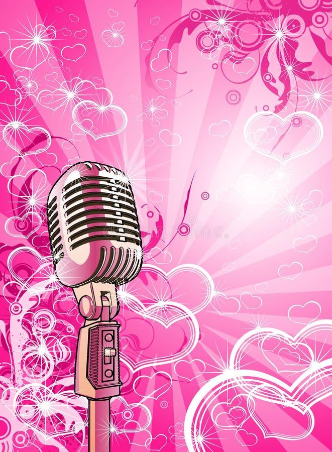 różowe valentines mikrofonów ilustracji