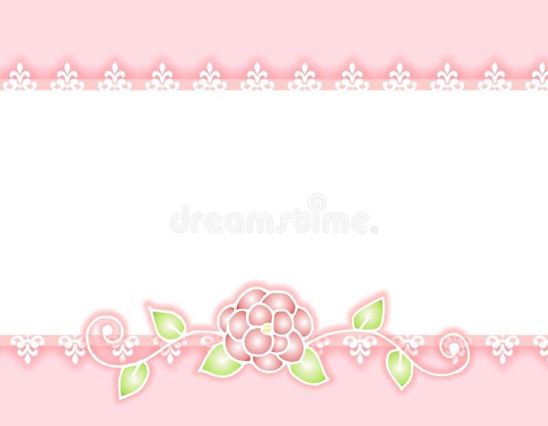 różowe wstążki koronek graniczny różę white ilustracja wektor