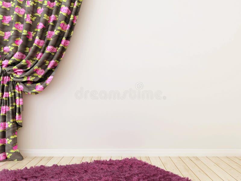 Różowe zasłony z dywanem zdjęcie stock
