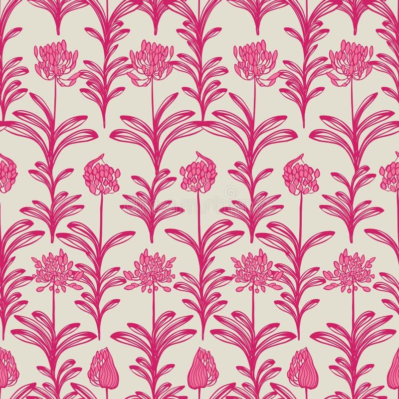 Różowego beżowego kwitnącego afrykanina lilly kwiatu lata wektoru kwiecisty bezszwowy wzór dla tkaniny, tapeta, scrapbooking ilustracja wektor