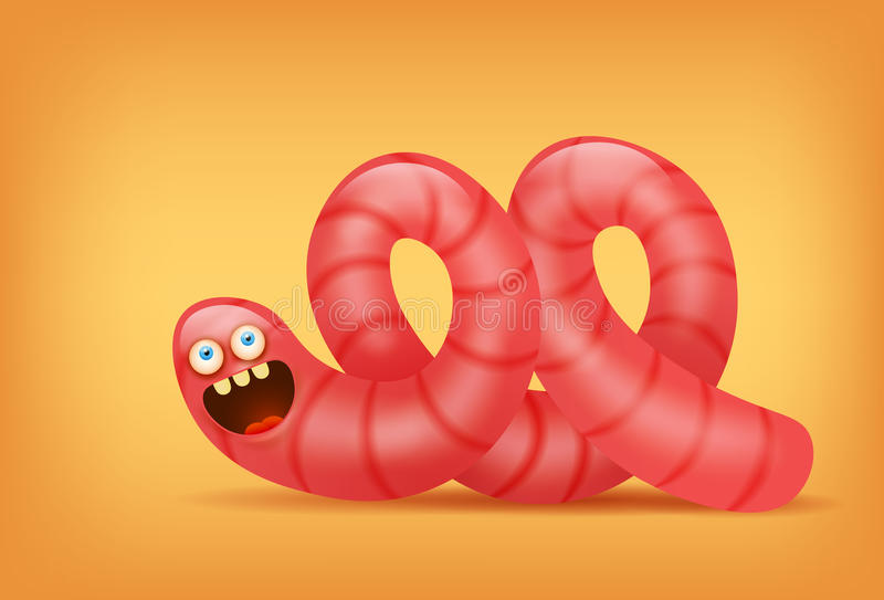 Różowego earthworm insekta śmieszny charakter ilustracji