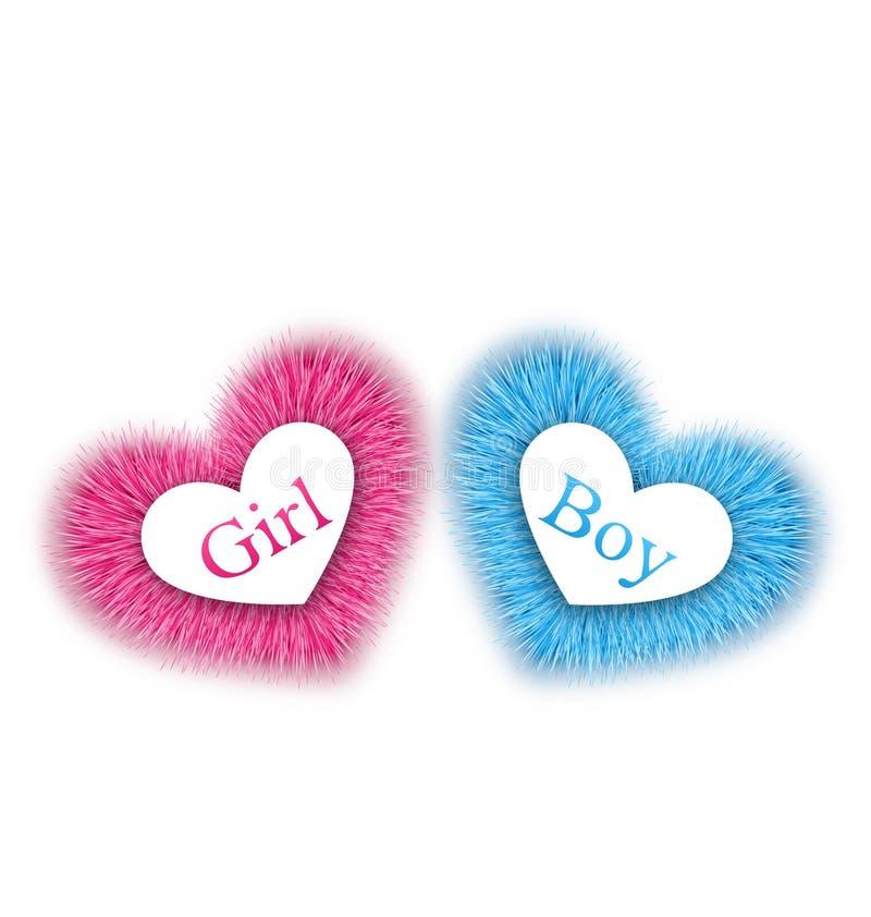 Różowego i błękitnego dziecka prysznic, wyjawia rodzaju dziecka prysznic royalty ilustracja