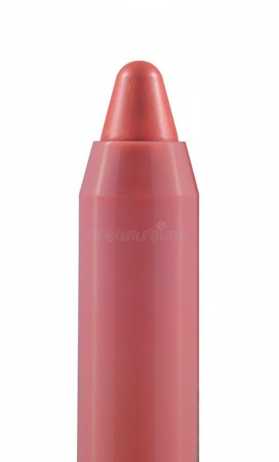 Różowego karmelu pyzaty kij na białym tle. obrazy stock