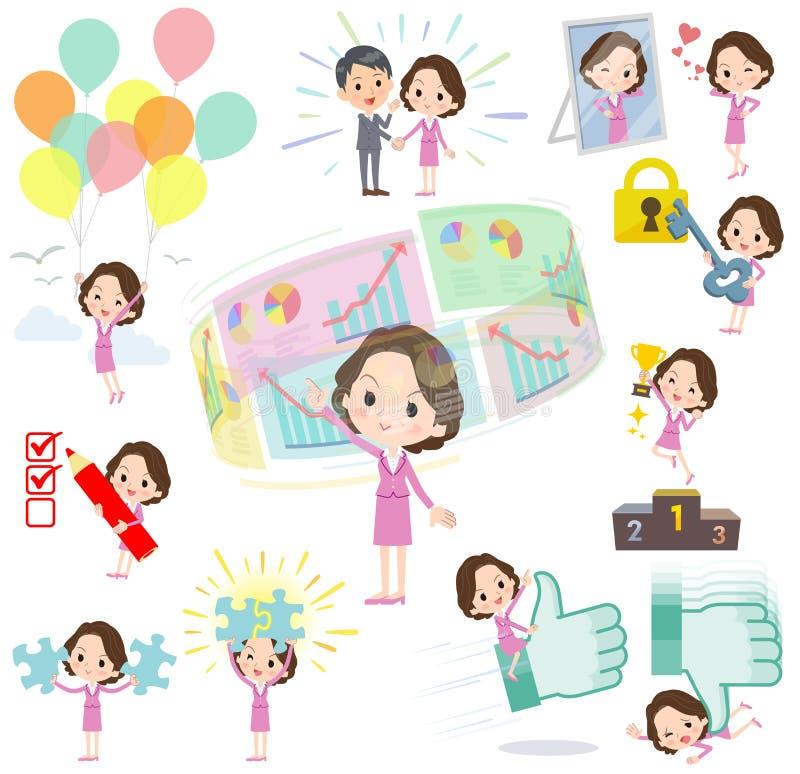 Różowego kostiumu biznesowi w średnim wieku women_success & pozytyw ilustracji