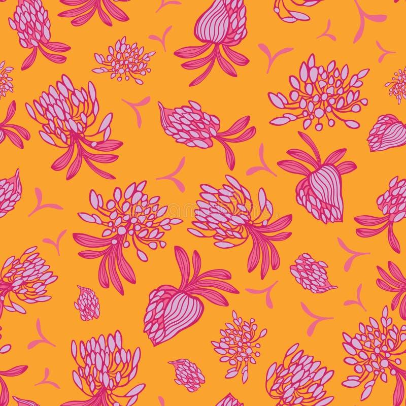 Różowego pomarańczowego kwitnącego afrykanina lilly kwiatu lata wektoru kwiecisty bezszwowy wzór dla tkaniny, tapeta, scrapbookin ilustracja wektor