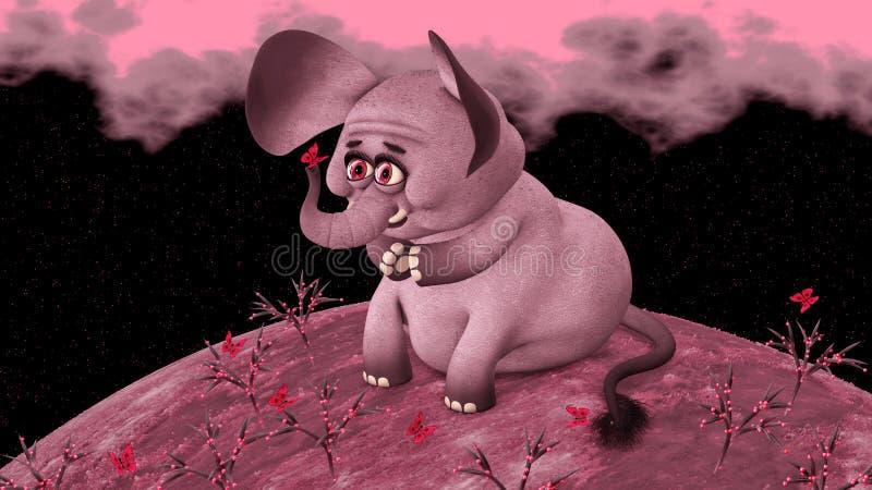 Różowego słonia spojrzenia przy motylem zdjęcia royalty free