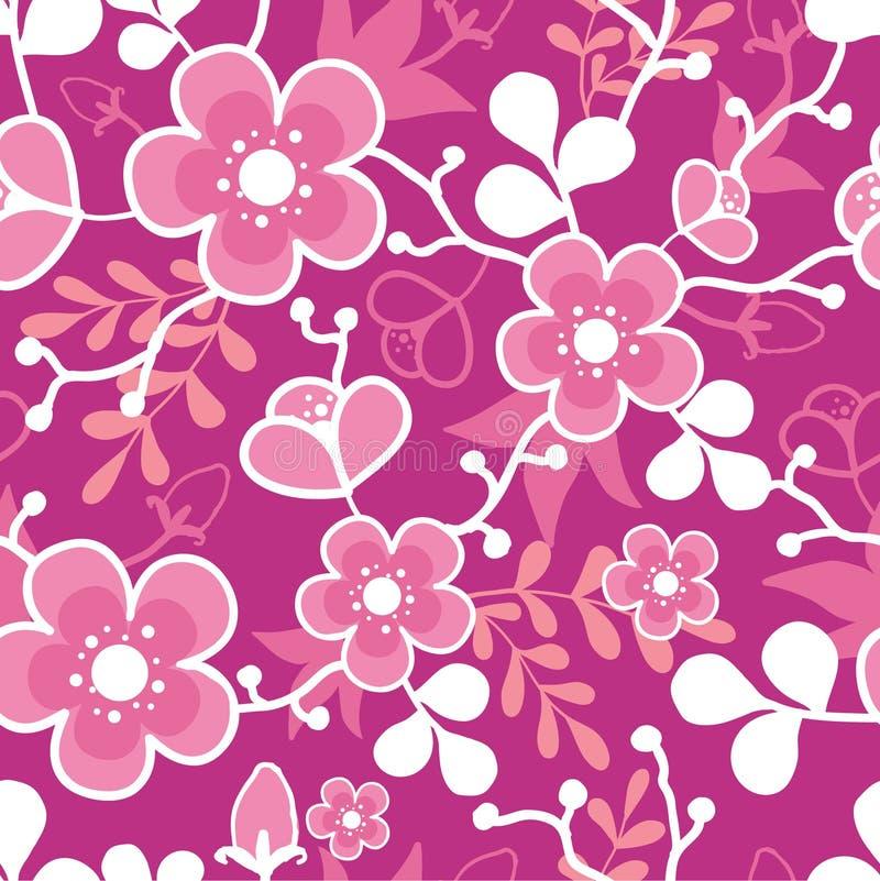 Różowego Sakura Kimonowego okwitnięcia Bezszwowy wzór ilustracja wektor