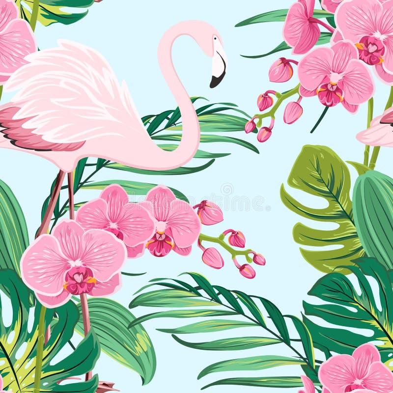 Różowego storczykowego flaminga liści wzoru tropikalny błękit ilustracja wektor
