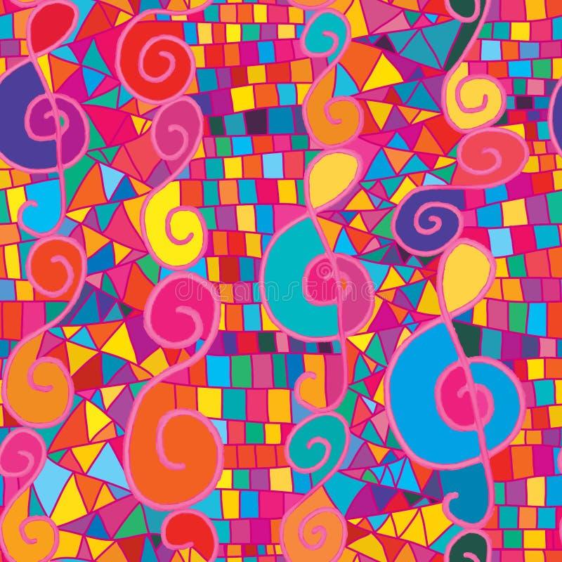 Różowej akwareli muzyki notatki vertcial bezszwowy wzór royalty ilustracja