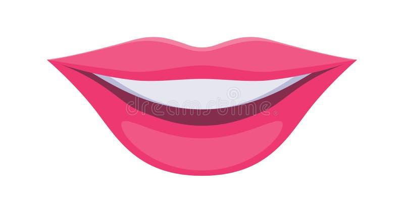 Różowej damy warg ikona Uśmiechu symbol royalty ilustracja