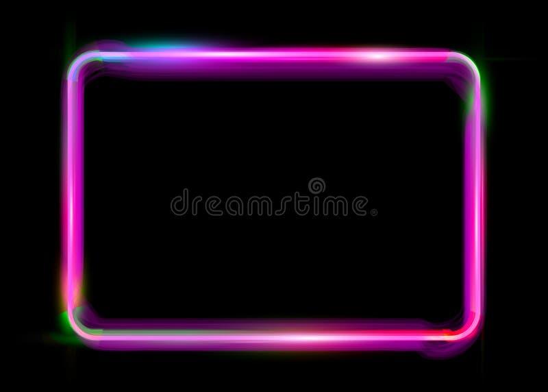 Różowej kolorowej neonowej błyszczącej rozjarzonej rocznik ramy odizolowywający lub czarny tło Fluorescencyjnego światła neonowej royalty ilustracja